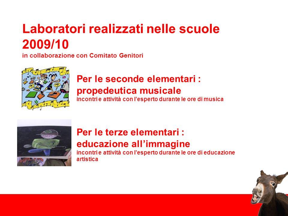 Laboratori realizzati nelle scuole 2009/10 in collaborazione con Comitato Genitori Per le seconde elementari : propedeutica musicale incontri e attivi