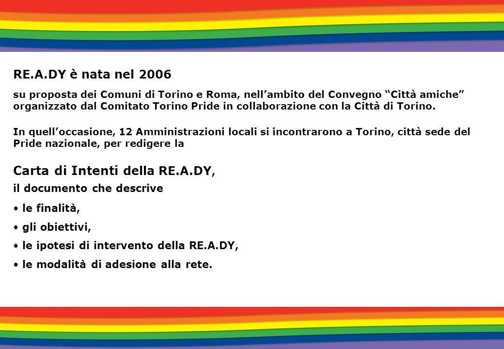 FINALITA della RE.A.DY Individuare, condividere e promuovere politiche di inclusione sociale per le persone LGBT Contribuire alla diffusione di buone prassi su tutto il territorio nazionale Supportare le Pubbliche Amministrazioni locali nella realizzazione di attività rivolte alla promozione e al riconoscimento dei diritti delle persone LGBT