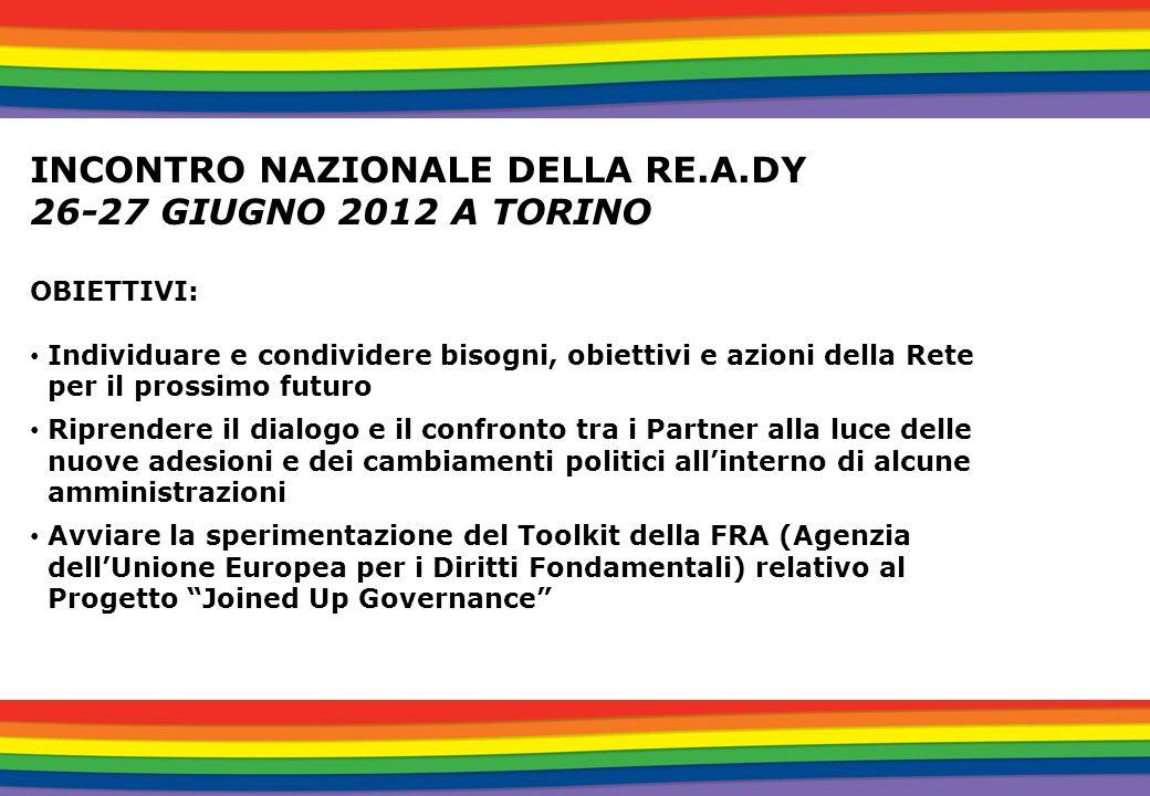 INCONTRO NAZIONALE DELLA RE.A.DY 26-27 GIUGNO 2012 A TORINO OBIETTIVI: Individuare e condividere bisogni, obiettivi e azioni della Rete per il prossim