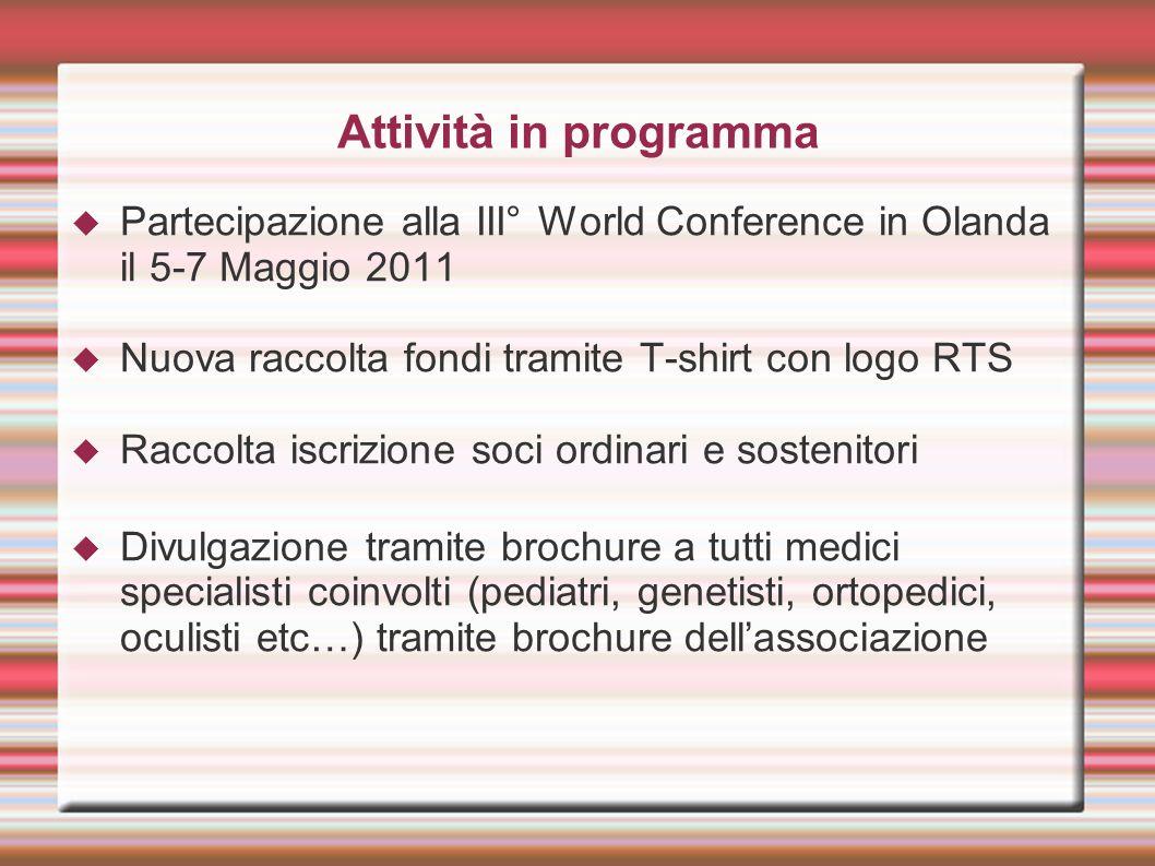 Attività in programma Partecipazione alla III° World Conference in Olanda il 5-7 Maggio 2011 Nuova raccolta fondi tramite T-shirt con logo RTS Raccolt