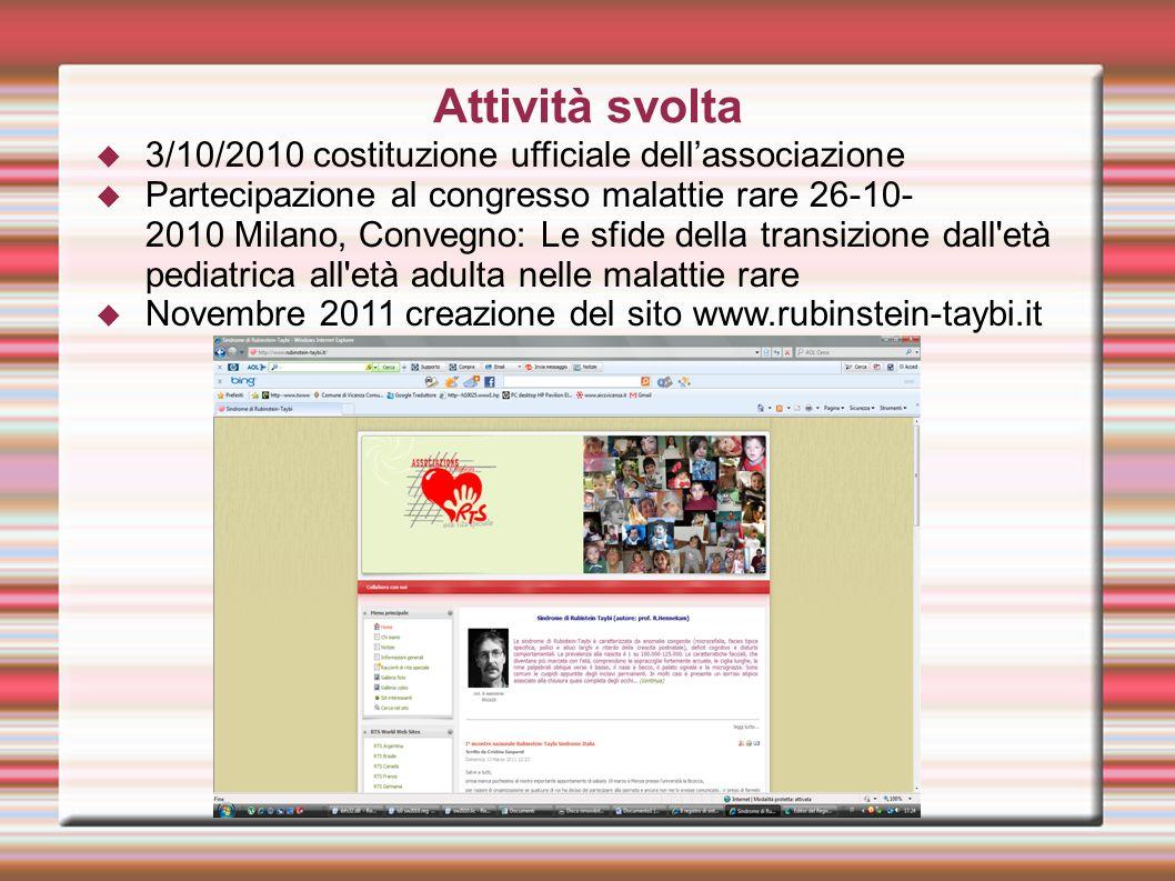 3/10/2010 costituzione ufficiale dellassociazione Partecipazione al congresso malattie rare 26-10- 2010 Milano, Convegno: Le sfide della transizione d