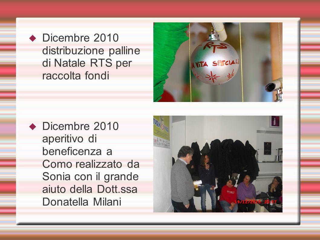Dicembre 2010 distribuzione palline di Natale RTS per raccolta fondi Dicembre 2010 aperitivo di beneficenza a Como realizzato da Sonia con il grande a