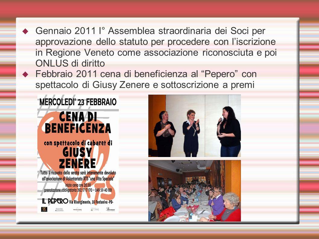 Gennaio 2011 I° Assemblea straordinaria dei Soci per approvazione dello statuto per procedere con liscrizione in Regione Veneto come associazione rico