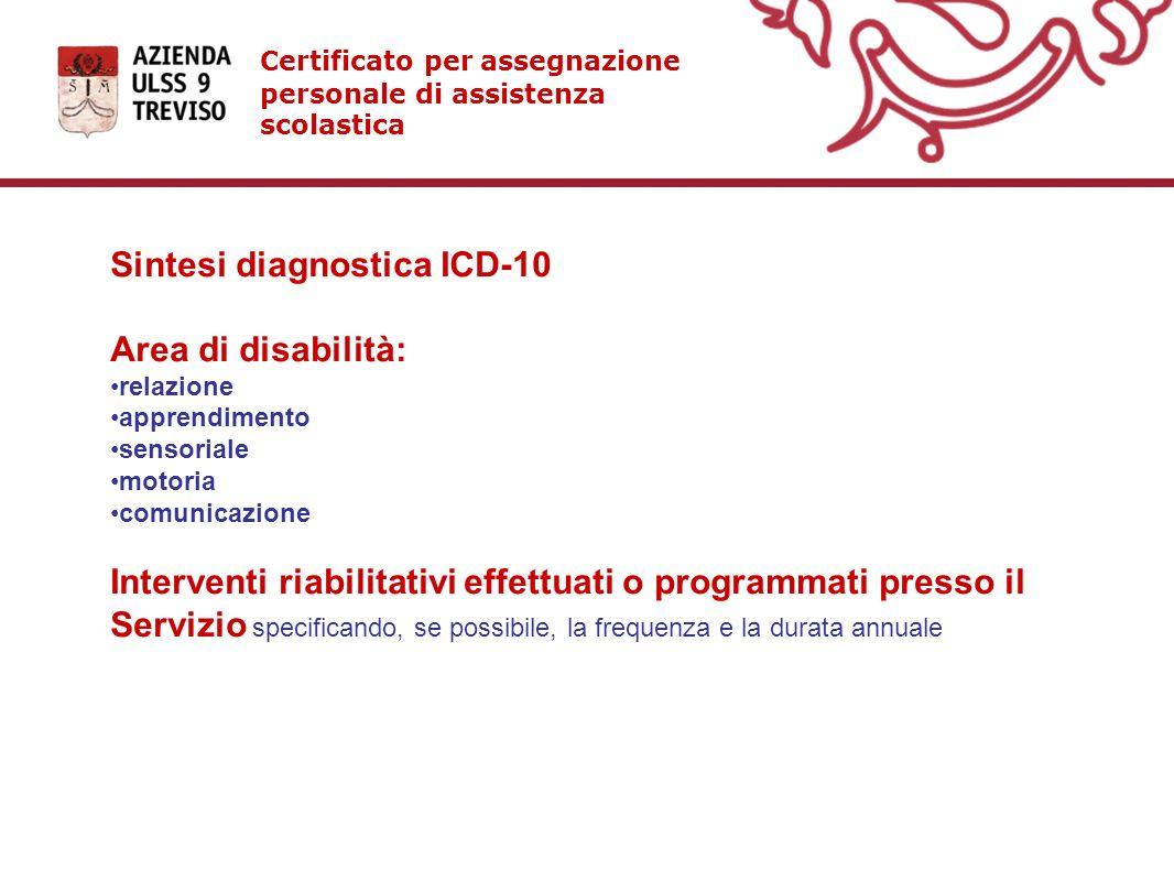 Certificato per assegnazione personale di assistenza scolastica Sintesi diagnostica ICD-10 Area di disabilità: relazione apprendimento sensoriale moto