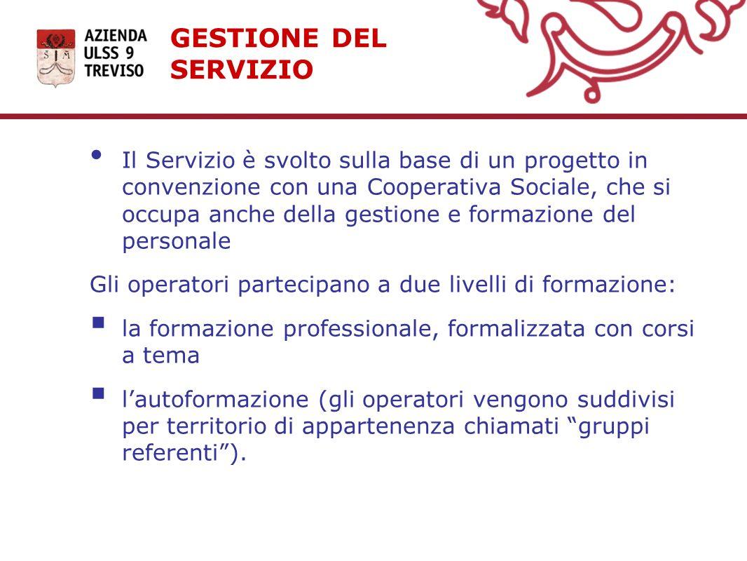 GESTIONE DEL SERVIZIO Il Servizio è svolto sulla base di un progetto in convenzione con una Cooperativa Sociale, che si occupa anche della gestione e