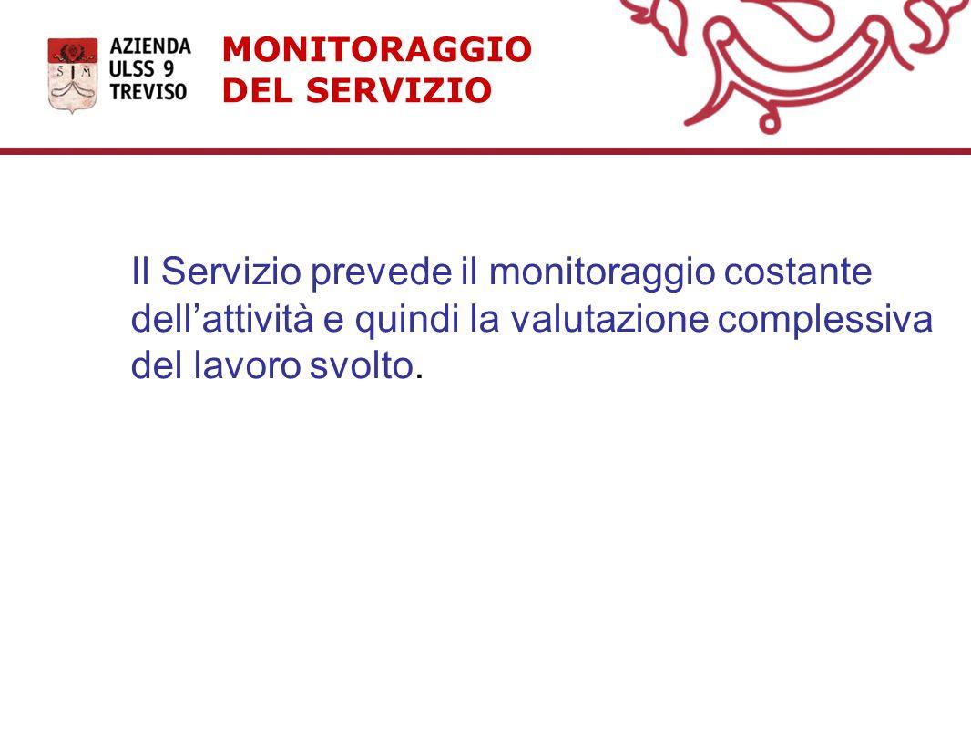 MONITORAGGIO DEL SERVIZIO Il Servizio prevede il monitoraggio costante dellattività e quindi la valutazione complessiva del lavoro svolto.