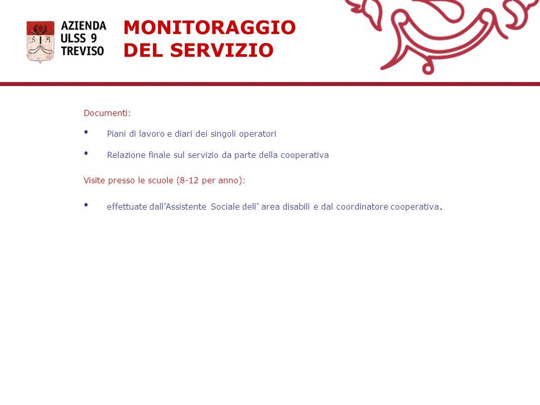 MONITORAGGIO DEL SERVIZIO Documenti: Piani di lavoro e diari dei singoli operatori Relazione finale sul servizio da parte della cooperativa Visite pre