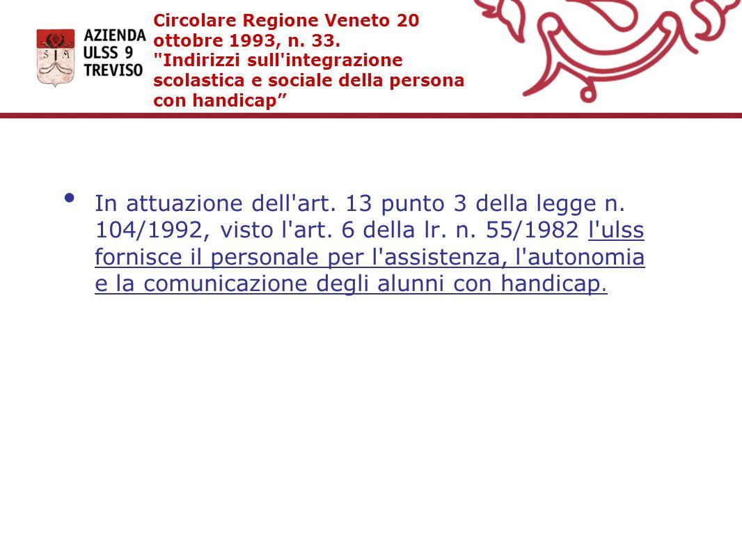 Circolare Regione Veneto 20 ottobre 1993, n. 33.