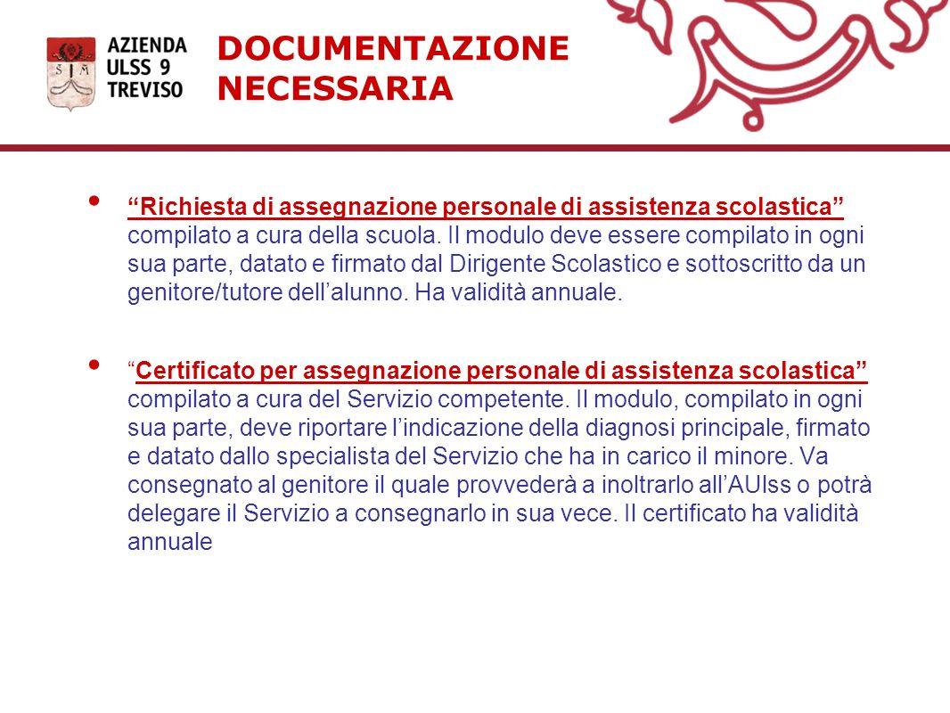 DOCUMENTAZIONE NECESSARIA Richiesta di assegnazione personale di assistenza scolastica compilato a cura della scuola. Il modulo deve essere compilato