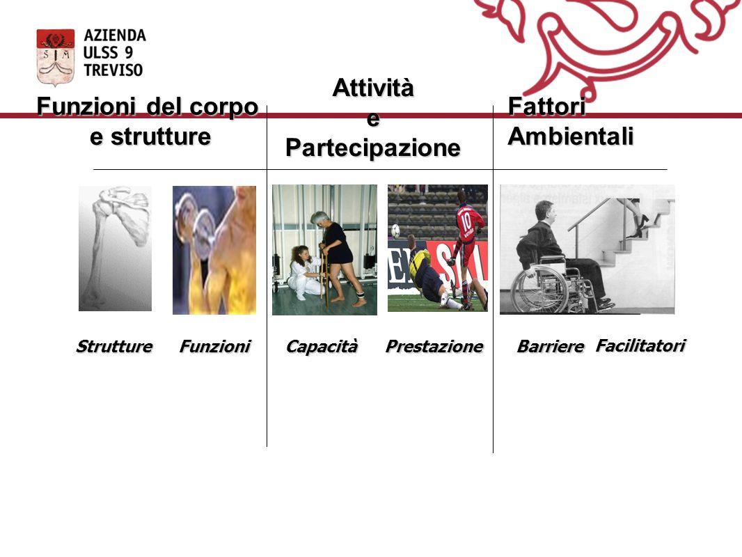 Funzioni del corpo e strutture Attività e Partecipazione Fattori Ambientali CapacitàPrestazioneFunzioniStruttureBarriere Facilitatori