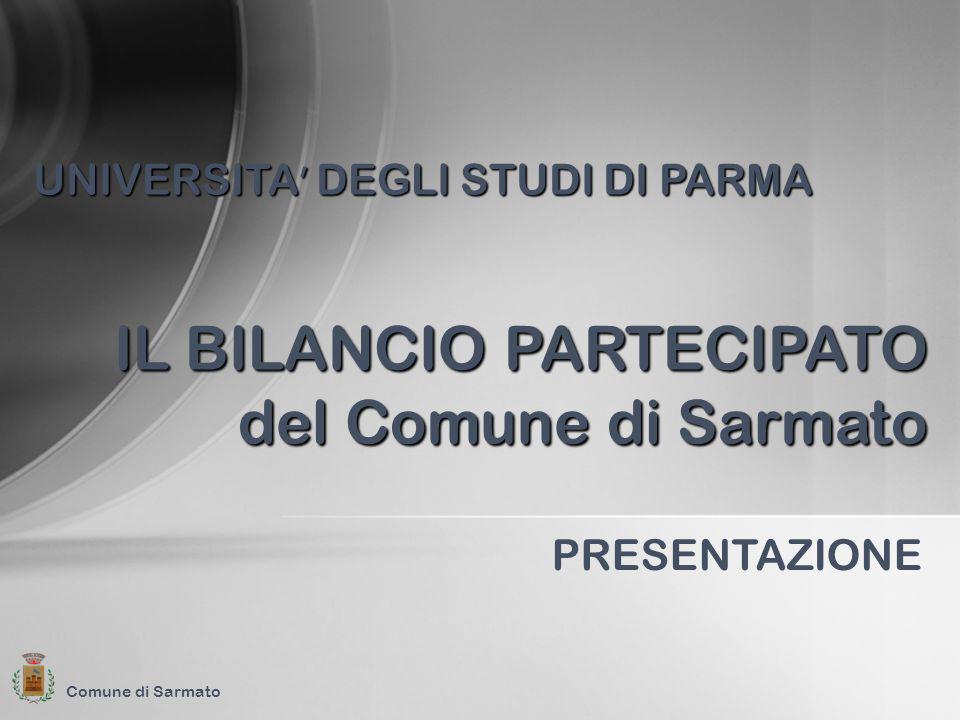 Comune di Sarmato PRESENTAZIONE IL BILANCIO PARTECIPATO del Comune di Sarmato UNIVERSITA DEGLI STUDI DI PARMA