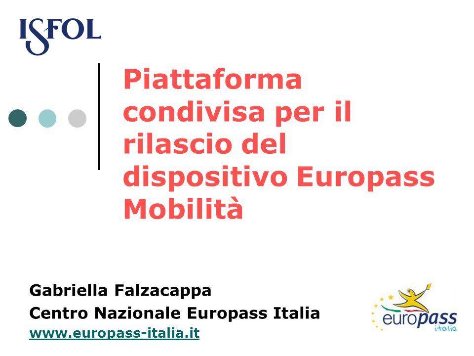 Piattaforma condivisa per il rilascio del dispositivo Europass Mobilità Gabriella Falzacappa Centro Nazionale Europass Italia www.europass-italia.it