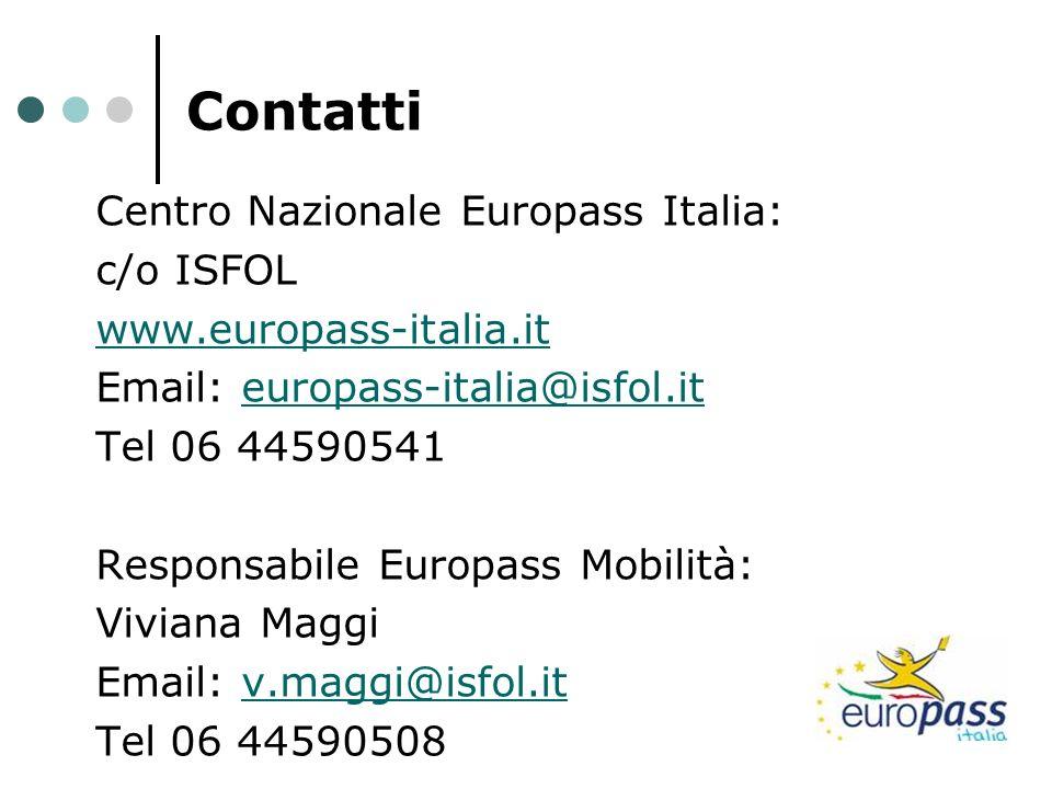 Contatti Centro Nazionale Europass Italia: c/o ISFOL www.europass-italia.it Email: europass-italia@isfol.iteuropass-italia@isfol.it Tel 06 44590541 Re