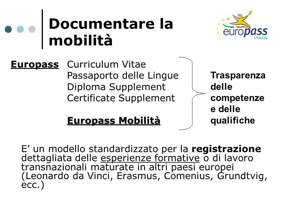 Documentare la mobilità E un modello standardizzato per la registrazione dettagliata delle esperienze formative o di lavoro transnazionali maturate in