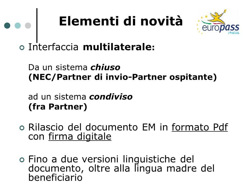 Elementi di novità Interfaccia multilaterale : Da un sistema chiuso (NEC/Partner di invio-Partner ospitante) ad un sistema condiviso (fra Partner) Ril