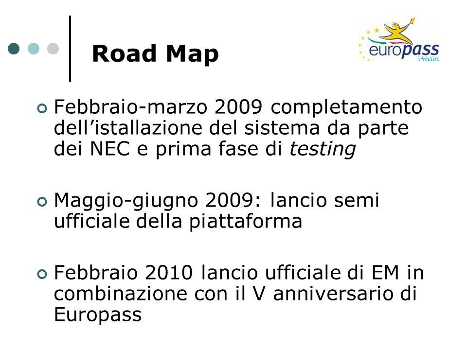 Road Map Febbraio-marzo 2009 completamento dellistallazione del sistema da parte dei NEC e prima fase di testing Maggio-giugno 2009: lancio semi uffic