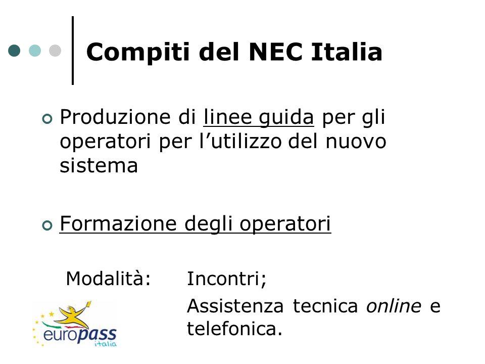 Compiti del NEC Italia Produzione di linee guida per gli operatori per lutilizzo del nuovo sistema Formazione degli operatori Modalità: Incontri; Assi