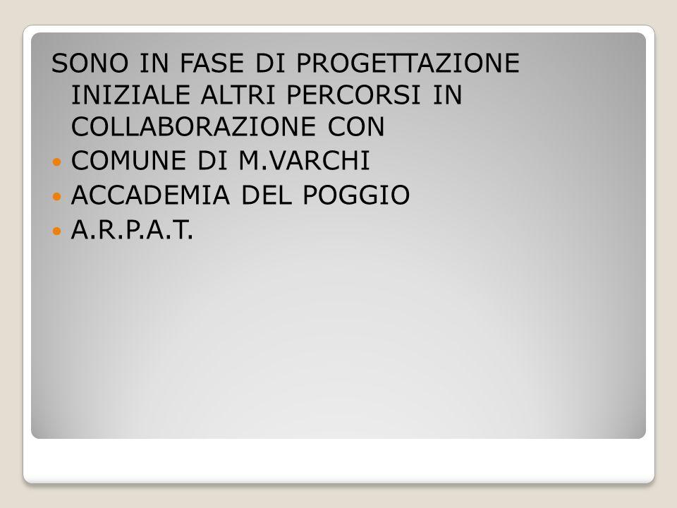 SONO IN FASE DI PROGETTAZIONE INIZIALE ALTRI PERCORSI IN COLLABORAZIONE CON COMUNE DI M.VARCHI ACCADEMIA DEL POGGIO A.R.P.A.T.