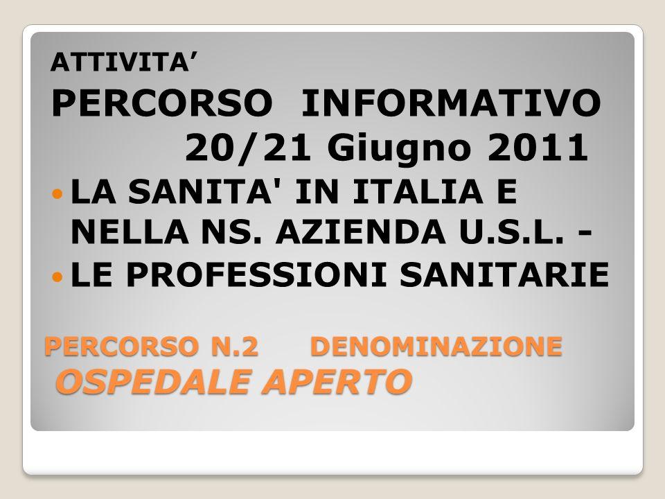PERCORSO N.2DENOMINAZIONE OSPEDALE APERTO ATTIVITA PERCORSO INFORMATIVO 20/21 Giugno 2011 LA SANITA IN ITALIA E NELLA NS.
