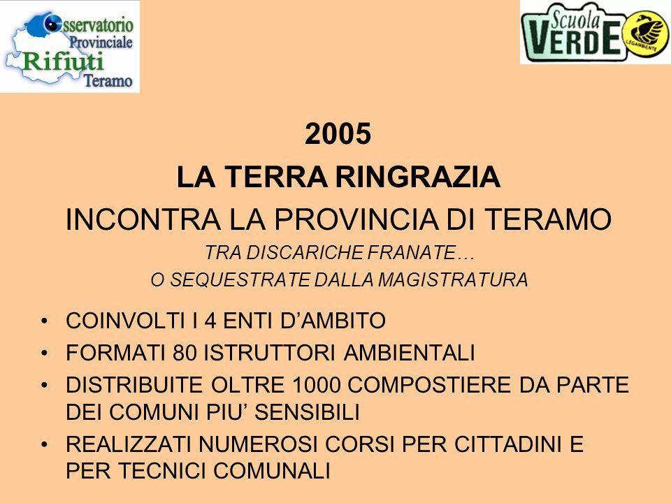 2005 LA TERRA RINGRAZIA INCONTRA LA PROVINCIA DI TERAMO TRA DISCARICHE FRANATE… O SEQUESTRATE DALLA MAGISTRATURA COINVOLTI I 4 ENTI DAMBITO FORMATI 80