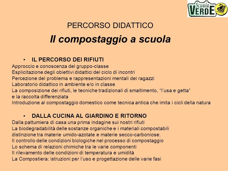PERCORSO DIDATTICO Il compostaggio a scuola IL PERCORSO DEI RIFIUTI Approccio e conoscenza del gruppo-classe Esplicitazione degli obiettivi didattici