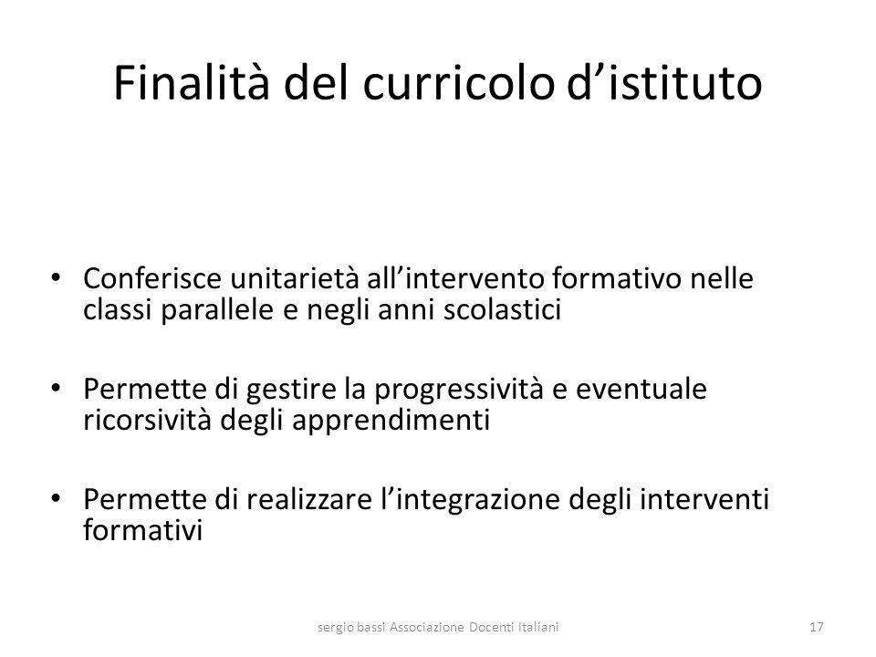 Finalità del curricolo distituto Conferisce unitarietà allintervento formativo nelle classi parallele e negli anni scolastici Permette di gestire la p
