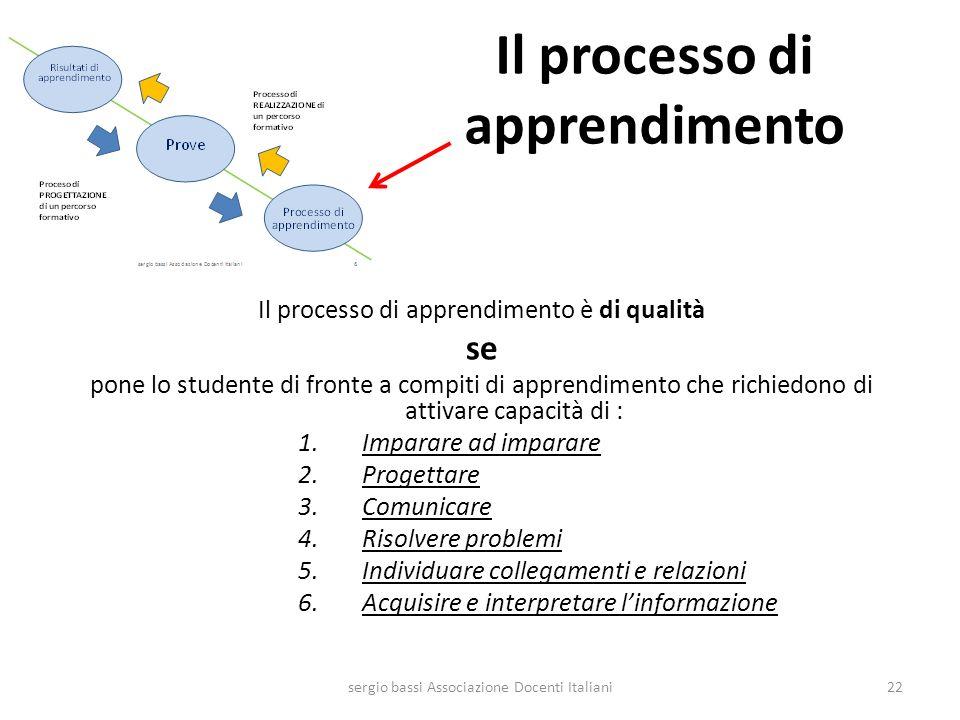 Il processo di apprendimento Il processo di apprendimento è di qualità se pone lo studente di fronte a compiti di apprendimento che richiedono di atti