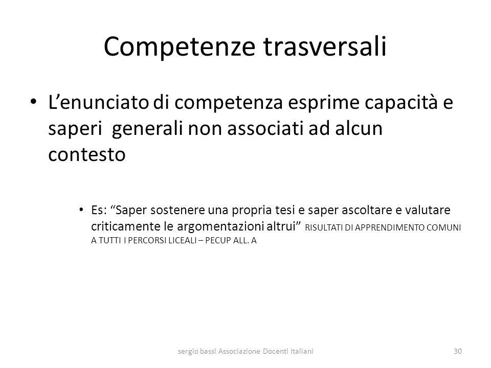 Competenze trasversali Lenunciato di competenza esprime capacità e saperi generali non associati ad alcun contesto Es: Saper sostenere una propria tes