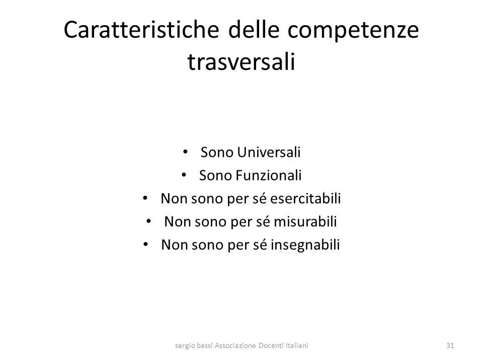 Caratteristiche delle competenze trasversali Sono Universali Sono Funzionali Non sono per sé esercitabili Non sono per sé misurabili Non sono per sé i