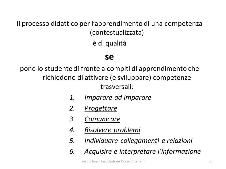 Il processo didattico per lapprendimento di una competenza (contestualizzata) è di qualità se pone lo studente di fronte a compiti di apprendimento ch