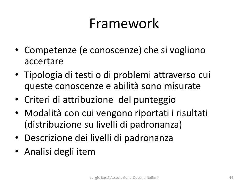 Framework Competenze (e conoscenze) che si vogliono accertare Tipologia di testi o di problemi attraverso cui queste conoscenze e abilità sono misurat