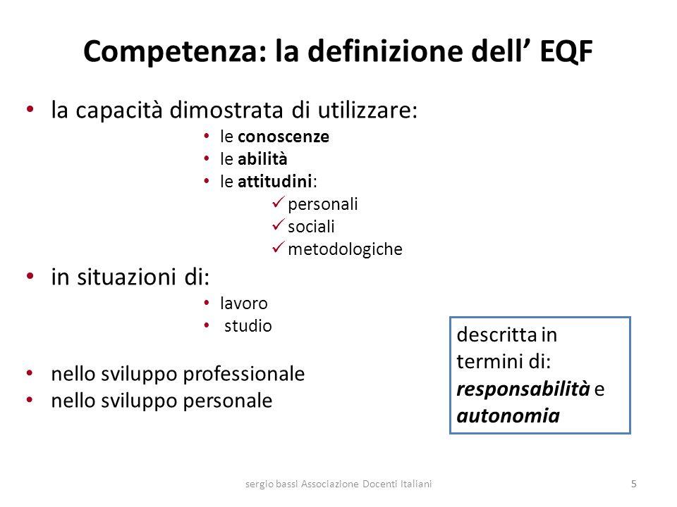 55 Competenza: la definizione dell EQF la capacità dimostrata di utilizzare: le conoscenze le abilità le attitudini: personali sociali metodologiche i