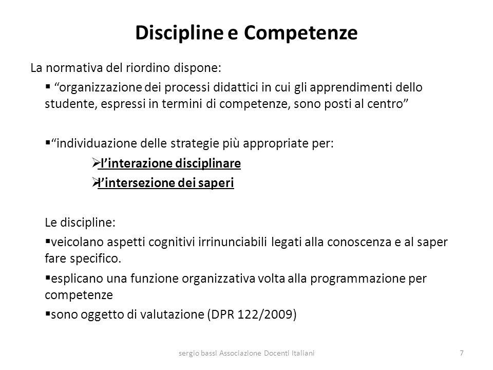 DUE TIPOLOGIE DI COMPETENZE I risultati di apprendimento descritti nei regolamenti dellobbligo di istruzione, istruzione professionale, istruzione tecnica, licei contengono due tipologie di competenze: Competenze contestualizzate Competenze trasversali Rintracciamo queste due tipologie anche nelle otto competenze europee per lapprendimento permanente 28sergio bassi Associazione Docenti Italiani