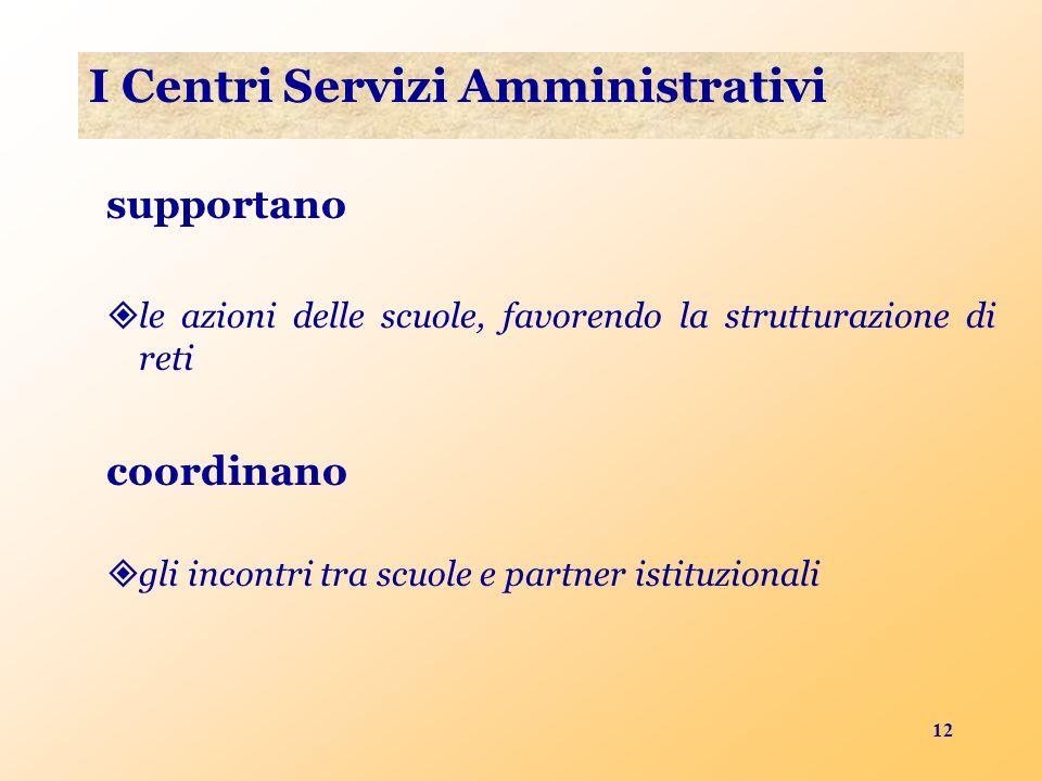 12 I Centri Servizi Amministrativi supportano le azioni delle scuole, favorendo la strutturazione di reti coordinano gli incontri tra scuole e partner istituzionali