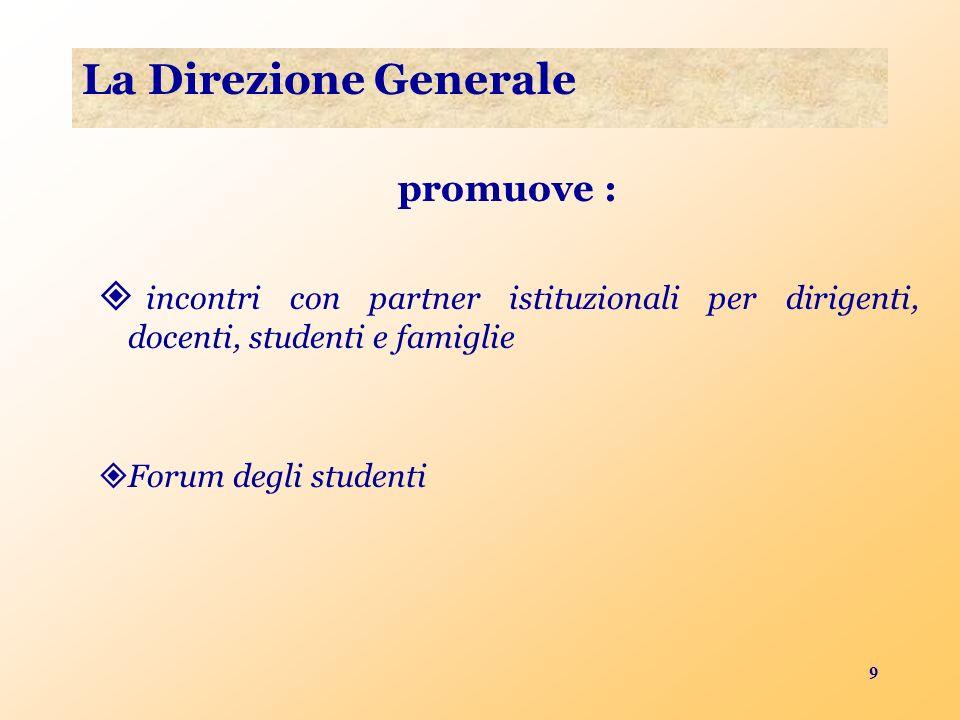 9 La Direzione Generale promuove : incontri con partner istituzionali per dirigenti, docenti, studenti e famiglie Forum degli studenti