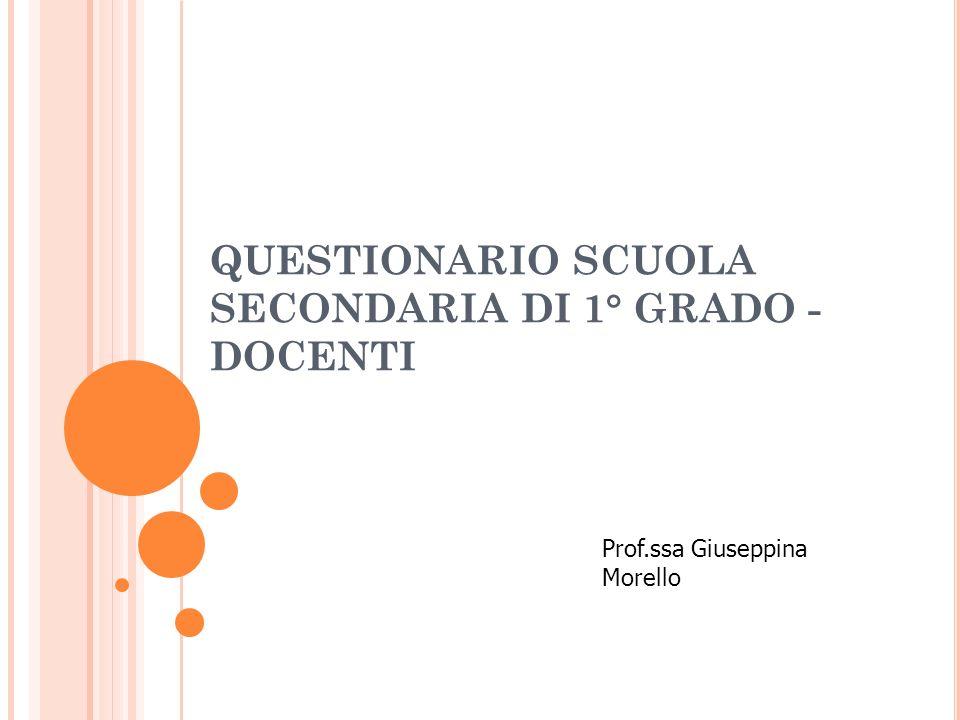 QUESTIONARIO SCUOLA SECONDARIA DI 1° GRADO - DOCENTI Prof.ssa Giuseppina Morello
