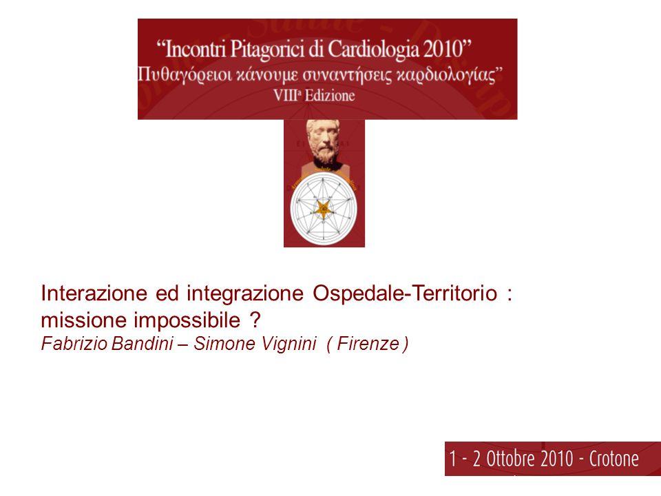 Interazione ed integrazione Ospedale-Territorio : missione impossibile .