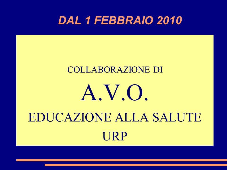 DAL 1 FEBBRAIO 2010 COLLABORAZIONE DI A.V.O. EDUCAZIONE ALLA SALUTE URP