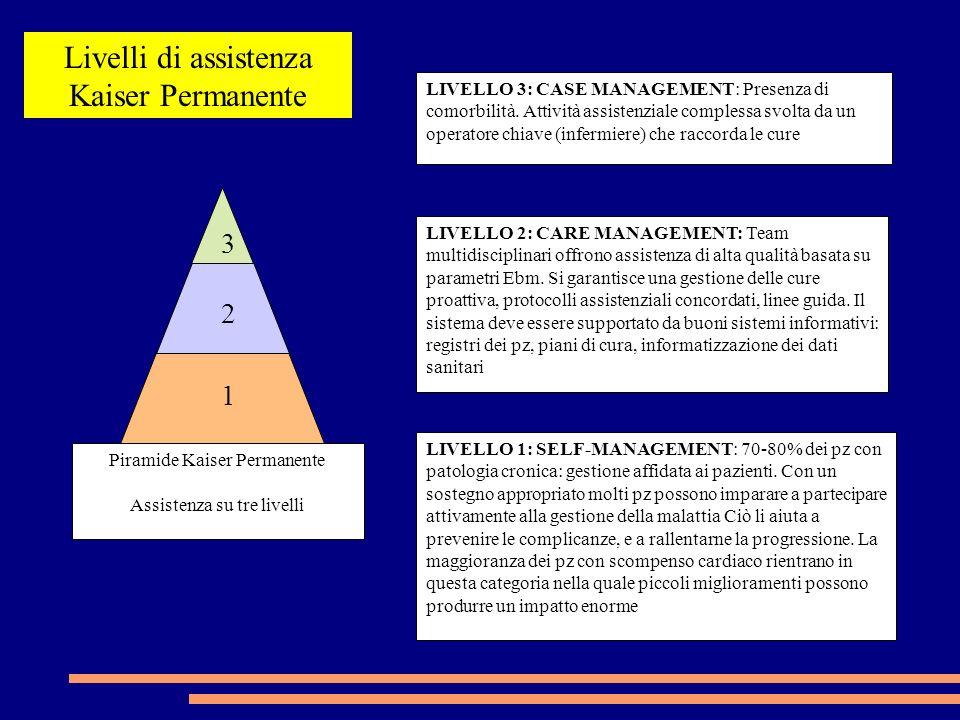 Piramide Kaiser Permanente Assistenza su tre livelli LIVELLO 1: SELF-MANAGEMENT: 70-80% dei pz con patologia cronica: gestione affidata ai pazienti.