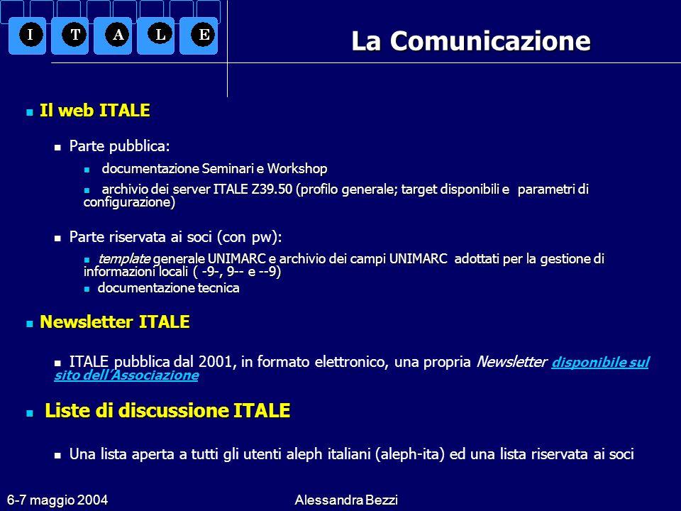 6-7 maggio 2004Alessandra Bezzi La Comunicazione Il web ITALE Il web ITALE Parte pubblica: documentazione Seminari e Workshop documentazione Seminari e Workshop archivio dei server ITALE Z39.50 (profilo generale; target disponibili e parametri di configurazione) archivio dei server ITALE Z39.50 (profilo generale; target disponibili e parametri di configurazione) Parte riservata ai soci (con pw): template generale UNIMARC e archivio dei campi UNIMARC adottati per la gestione di informazioni locali ( -9-, 9-- e --9) template generale UNIMARC e archivio dei campi UNIMARC adottati per la gestione di informazioni locali ( -9-, 9-- e --9) documentazione tecnica documentazione tecnica Newsletter ITALE Newsletter ITALE ITALE pubblica dal 2001, in formato elettronico, una propria Newsletter disponibile sul sito dellAssociazione disponibile sul sito dellAssociazione Liste di discussione ITALE Liste di discussione ITALE Una lista aperta a tutti gli utenti aleph italiani (aleph-ita) ed una lista riservata ai soci