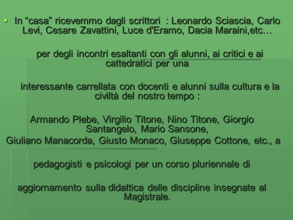In casa ricevemmo dagli scrittori : Leonardo Sciascia, Carlo Levi, Cesare Zavattini, Luce d'Eramo, Dacia Maraini,etc… In casa ricevemmo dagli scrittor
