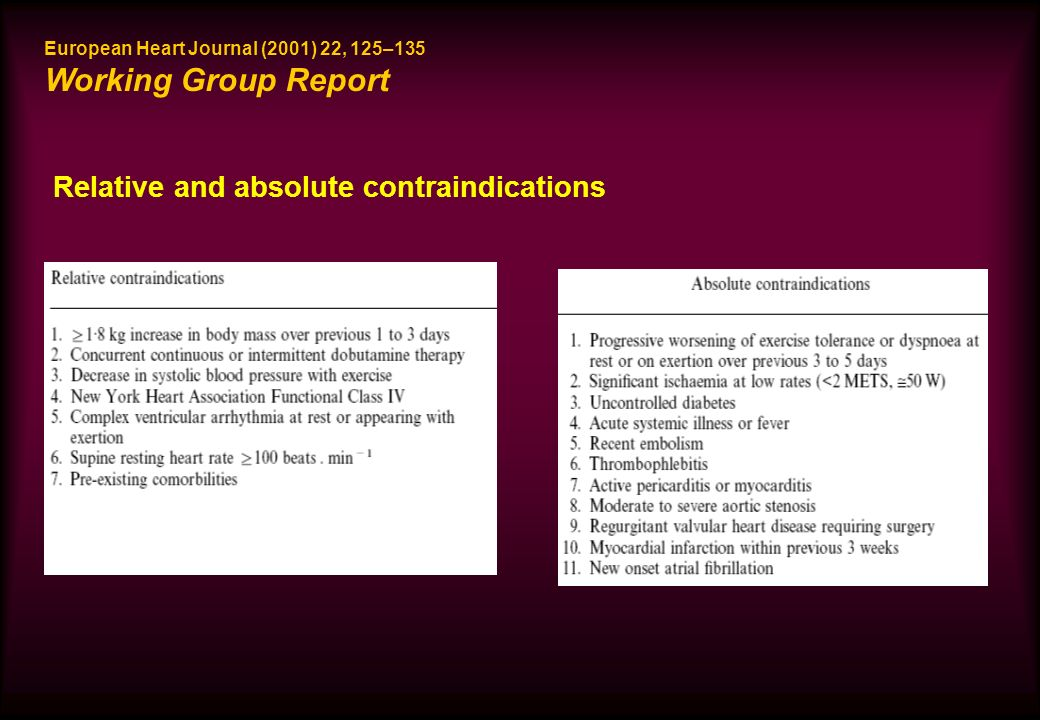Relative and absolute contraindications European Heart Journal (2001) 22, 125–135 Working Group Report