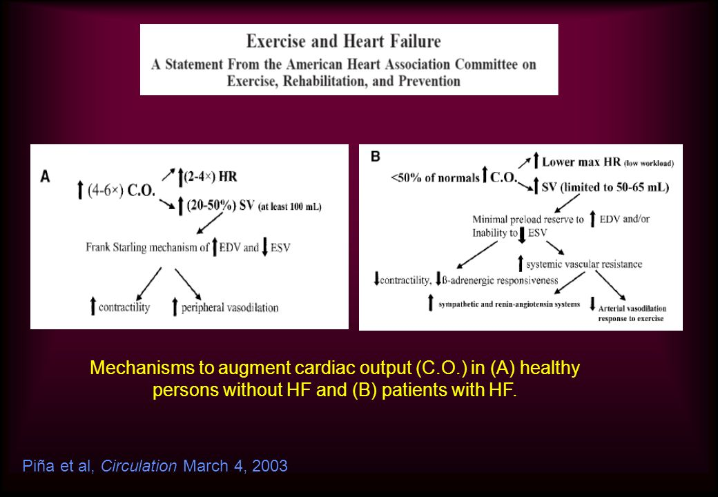 Mechanisms to augment cardiac output (C.O.) in (A) healthy persons without HF and (B) patients with HF. Piña et al, Circulation March 4, 2003