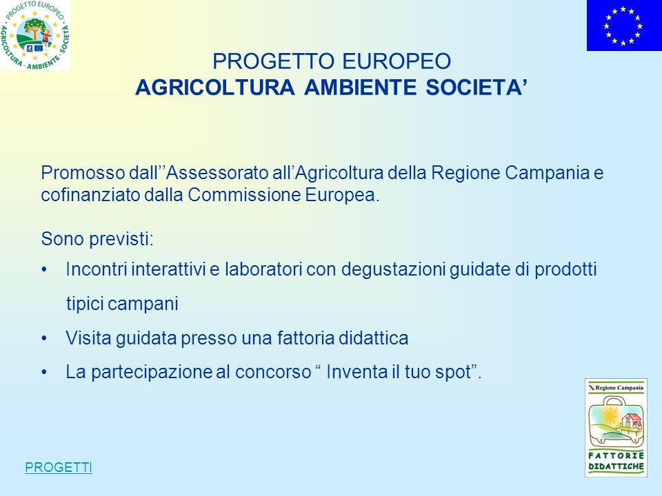 PROGETTO EUROPEO AGRICOLTURA AMBIENTE SOCIETA Promosso dallAssessorato allAgricoltura della Regione Campania e cofinanziato dalla Commissione Europea.