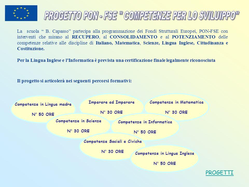 La scuola B. Capasso partecipa alla programmazione dei Fondi Strutturali Europei, PON-FSE con interventi che mirano al RECUPERO, al CONSOLIDAMENTO e a