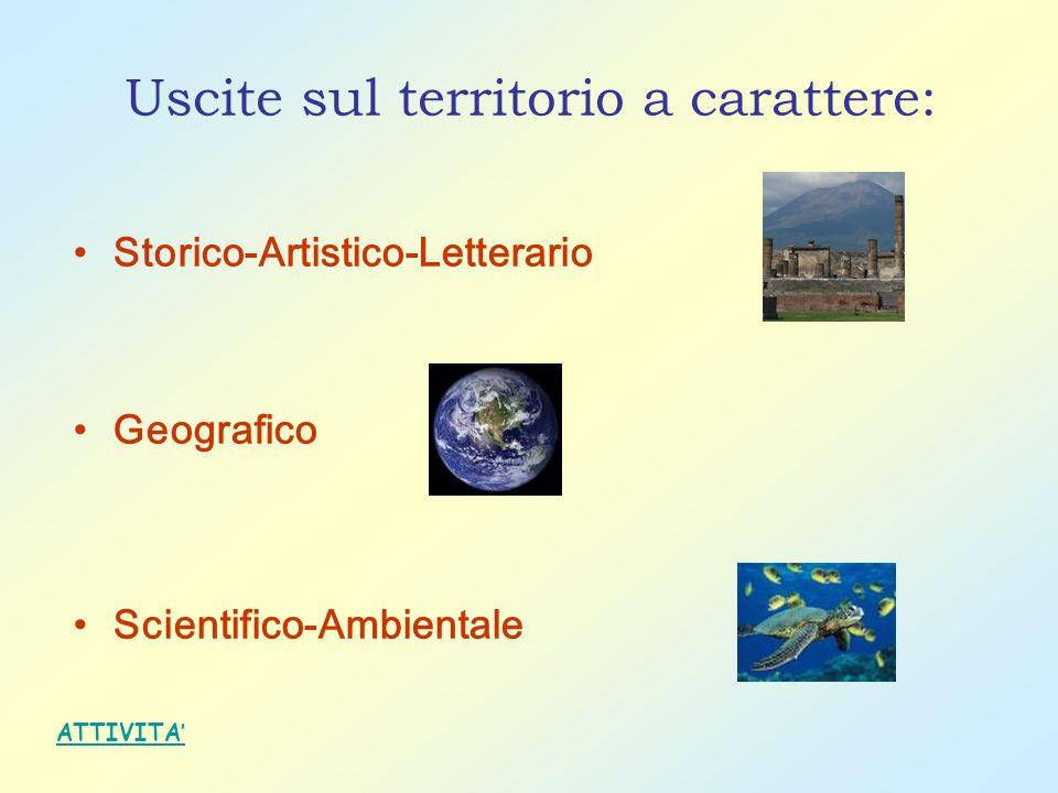 Uscite sul territorio a carattere: Storico-Artistico-Letterario Geografico Scientifico-Ambientale ATTIVITA