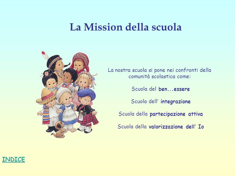 La Mission della scuola INDICE La nostra scuola si pone nei confronti della comunità scolastica come: Scuola del ben...essere Scuola dell integrazione
