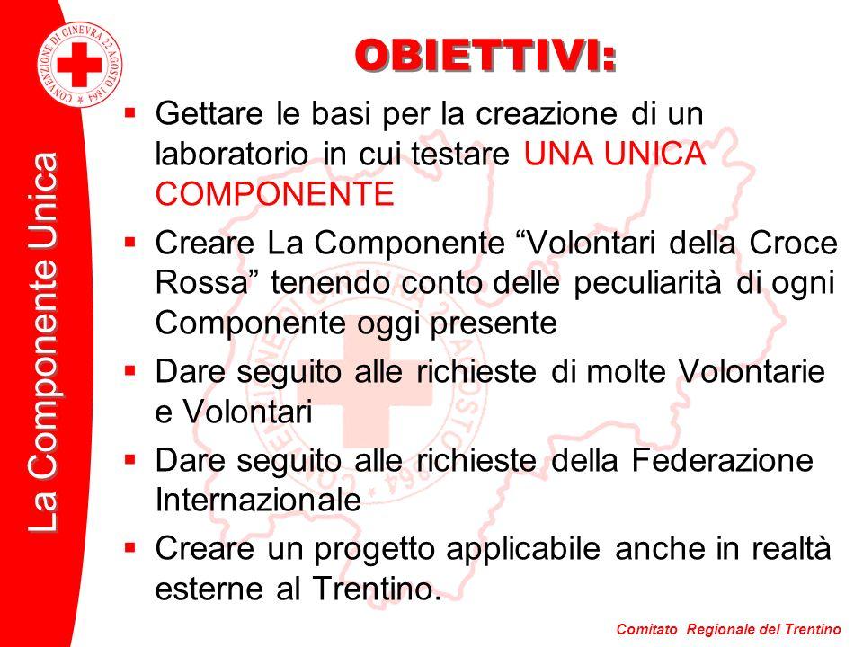 Comitato Regionale del Trentino La Componente Unica OBIETTIVI: Gettare le basi per la creazione di un laboratorio in cui testare UNA UNICA COMPONENTE