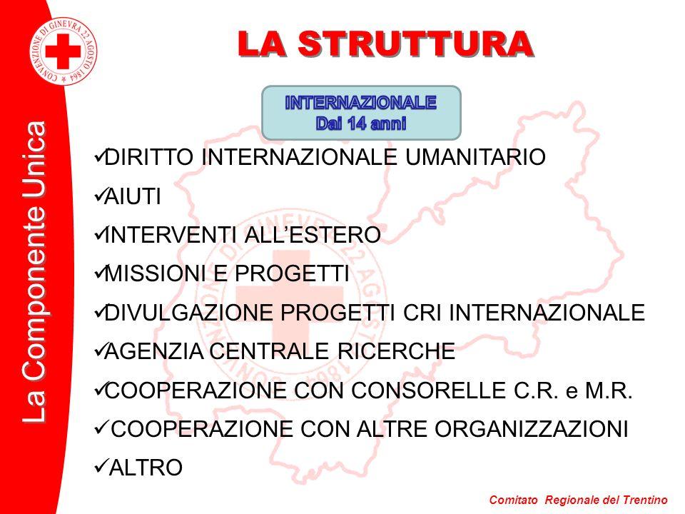 Comitato Regionale del Trentino La Componente Unica LA STRUTTURA DIRITTO INTERNAZIONALE UMANITARIO AIUTI INTERVENTI ALLESTERO MISSIONI E PROGETTI DIVU