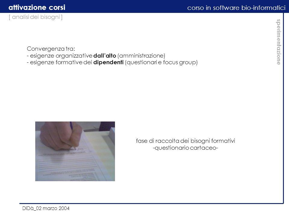 [ analisi dei bisogni ] attivazione corsi corso in software bio-informatici DiDà_02 marzo 2004 sperimentazione Convergenza tra: - esigenze organizzati